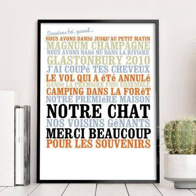 """Cadeau couple - """"Souviens toi, quand ... """" - Affiche personnalisée"""