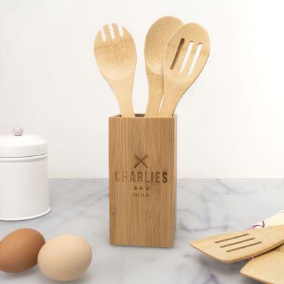 Cuisine & Barbecue - Set de cuillères en bois personnalisable, avec boîte de restaurant