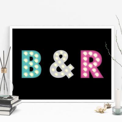 Décoration & Mobilier - Affiche personnalisable avec initiales colorées