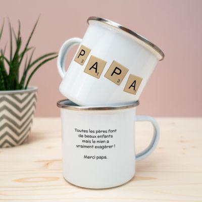 Tasses et Verres personnalisés - Tasse en métal Personnalisable Scrabble