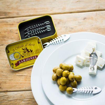 Cadeau couple - Set de 6 piques apéritif Sardines