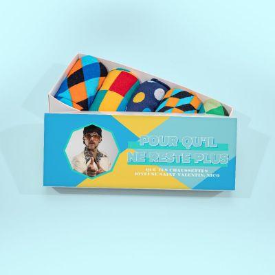 Cadeau frère - Boîte à Chaussettes avec image et texte
