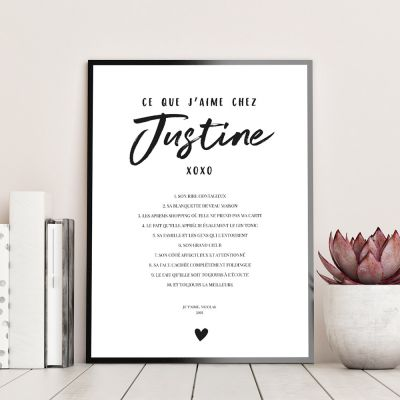 Cadeau Saint Valentin Femme - Poster Personnalisable Ce Que J'aime Chez…