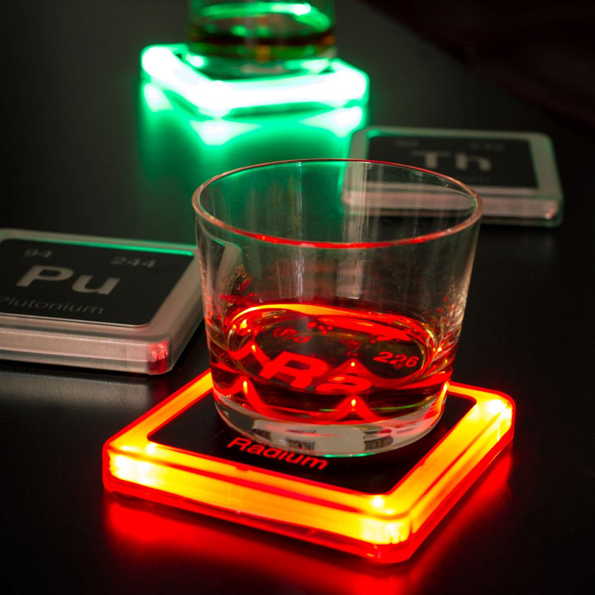 Sous-verres lumineux radioactifs – Set de 4