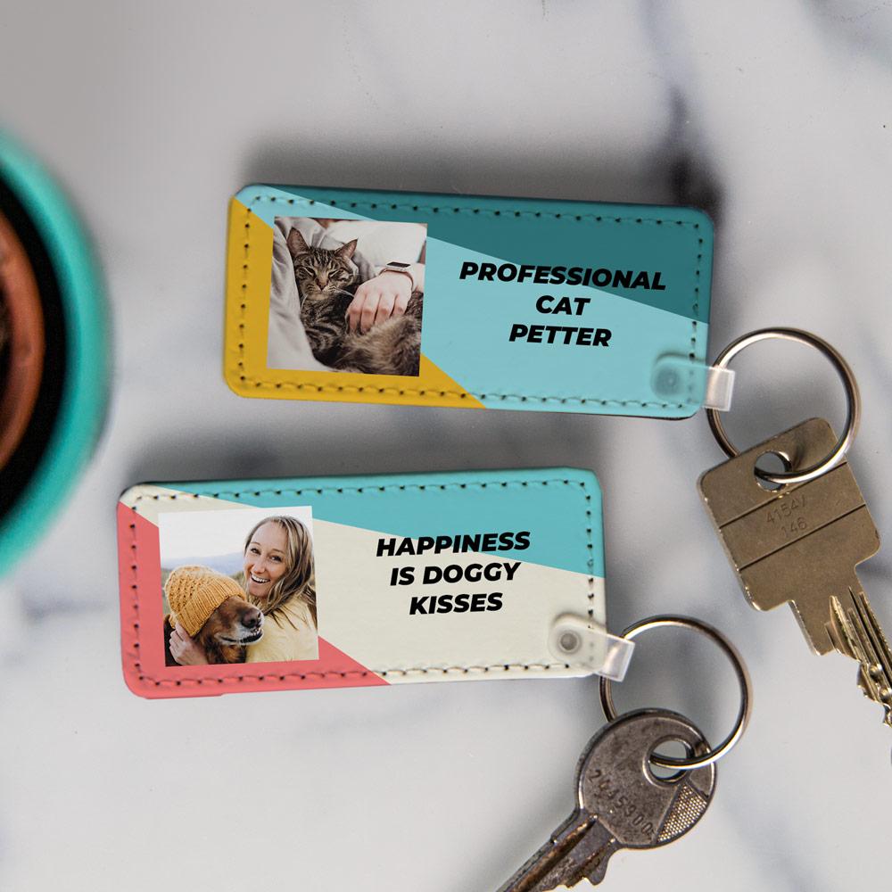 Cadeaux pour animaux Porte-clés avec Photo et Texte